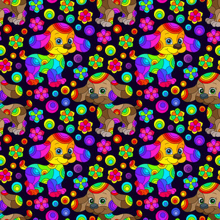 Seamless pattern with bright cartoon dogs and flowers in stained glass style on a dark background