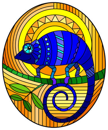 Illustration in stained glass style with abstract geometric blue chameleon on an orange background, oval image