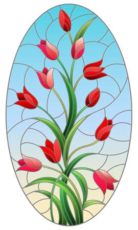 Illustration in stained glass style with a flower arrangement of red tulips on a blue background, oval image, vertical orientation