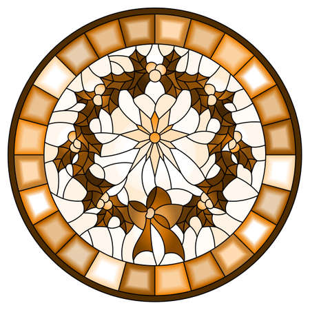 Illustration in stained glass style wreath of Holly and Christmas star on a light background, round image in a frame, monochrome, tone brown