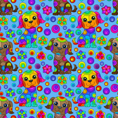 Seamless pattern with bright cartoon dogs and flowers in stained glass style on a blue background