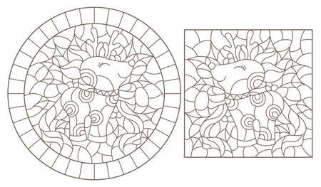 Set of contour illustrations of stained glass Windows with funny cartoon deers and Holly, dark contours on a white background 矢量图像