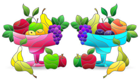 Set of illustrations in stained glass style with fruit still lifes, ripe fruit in a vase, isolated on a white background 矢量图像