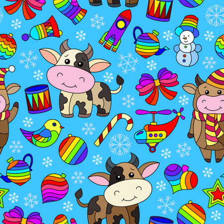 Seamless pattern on the theme of New year and Christmas, bright Christmas tree toys, bulls and snowflakes on a blue background