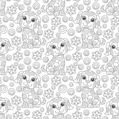 Seamless pattern with contour cartoon dogs and flowers in stained glass style on a white background