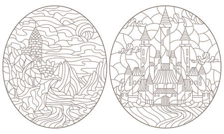Set contour illustration of stained glass of landscapes with ancient castles, dark outlines on a white background 矢量图像