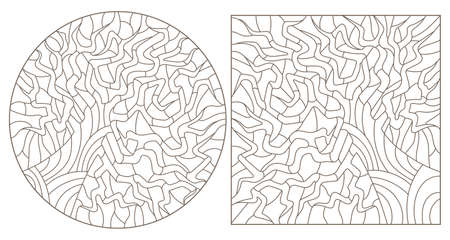 Set of contour illustrations of stained glass Windows with abstract trees, dark outlines on a white background, round images 矢量图像