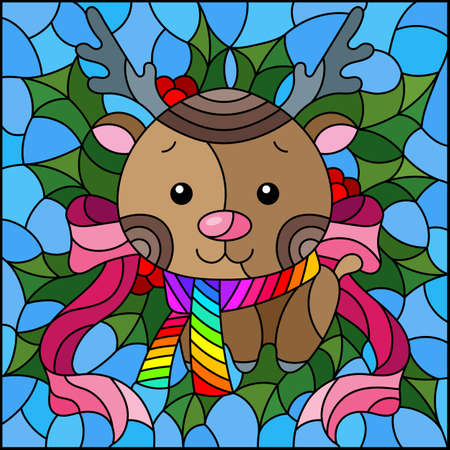 Illustration in stained glass style on the theme of the winter holidays of Christmas and New year, a toy deer on the background of Holly branches