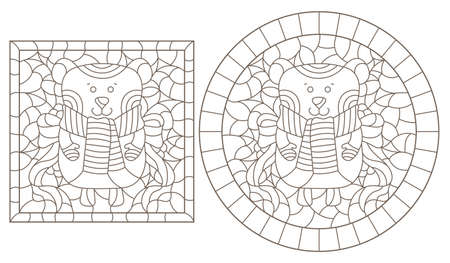 Set of contour illustrations of stained glass Windows with funny cartoon bears and Holly, dark contours on a white background 矢量图像