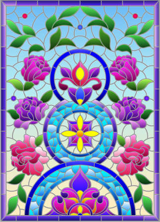 Illustration in the stained glass style with an abstract flower arrangement on a light yellow background, vertical image 免版税图像 - 159335243