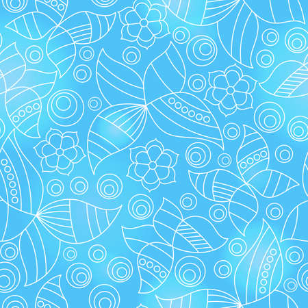 Seamless pattern with contour stained glass butterflies and flowers, outline moths on a blue background