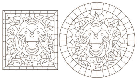 Set of contour illustrations of stained glass Windows with funny cartoon foxes and Holly, dark contours on a white background