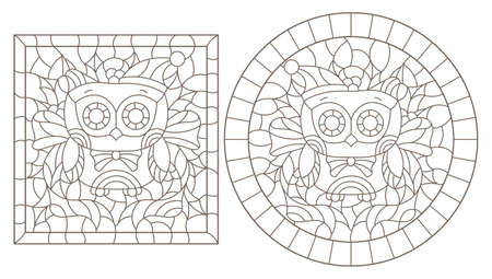 Set of contour illustrations of stained glass Windows with funny cartoon owles and Holly, dark contours on a white background