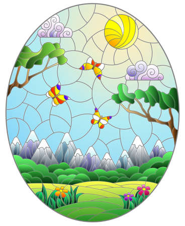 Illustration in stained glass style with landscape, meadows against a Sunny sky and a mountains, oval image