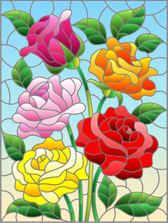 Illustration in stained glass style with a bouquet of bright roses on a blue background, rectangular image 矢量图像