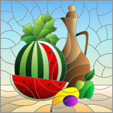 Stained glass illustration with still life, jug and sliced ripe watermelon, square image