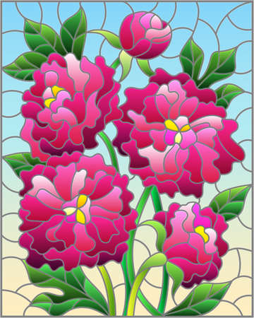 Illustration in stained glass style with a bouquet of pink peonies on a blue background, rectangular image 免版税图像 - 159445311