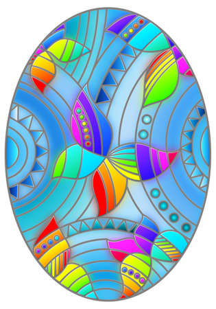 Illustration in stained glass style with abstract bright butterflies on a blue background, oval image