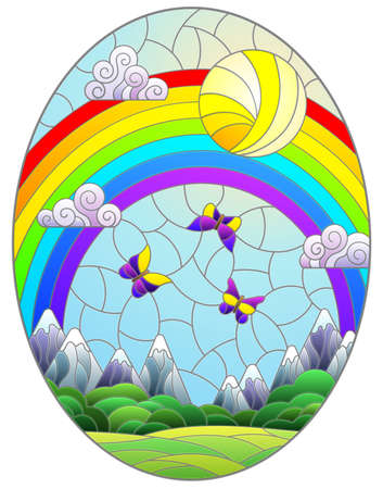 Illustration in stained glass style with landscape, meadows against a Sunny sky and a rainbow, oval image