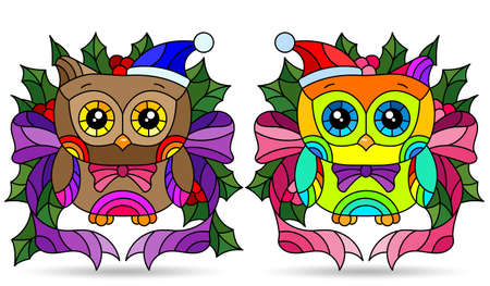 Set of illustrations with stained glass elements, toy owls and Holly branches, isolated on a white background 矢量图像
