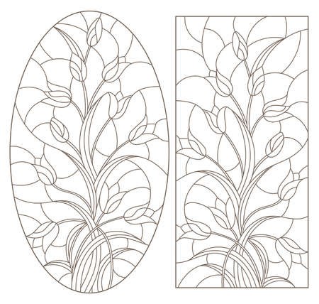 Set of contour illustrations in stained glass style with flower arrangements of tulips, dark contours on a white background 矢量图像