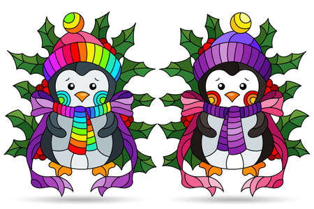 Set of illustrations with stained glass elements, toy penguins and Holly branches, isolated on a white background