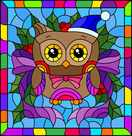 Illustration in stained glass style on the theme of the winter holidays of Christmas and New year, a toy owl on the background of Holly branches 矢量图像