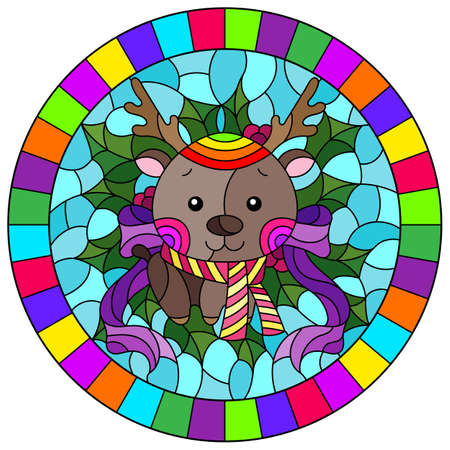 Illustration in stained glass style on the theme of the winter holidays of Christmas and New year, a toy deer on the background of Holly branches, round image in bright frame