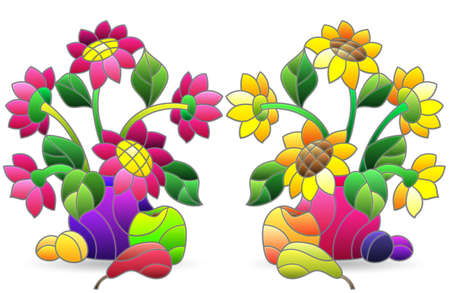 Set of illustrations in stained glass style with floral still lifes, flowers in a vase and fruit, isolated on a white background