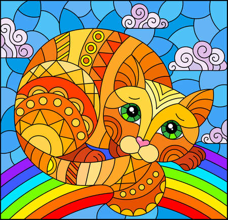 Illustration in stained glass style with abstract cute red cat on a sky background with rainbow, rectangular images