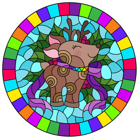 Illustration in stained glass style on the theme of the winter holidays of Christmas and New year, a toy deer on the background of Holly branches, round image in bright frame 免版税图像 - 159445351