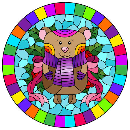 Illustration in stained glass style on the theme of the winter holidays of Christmas and New year, a toy bear on the background of Holly branches, round image in bright frame
