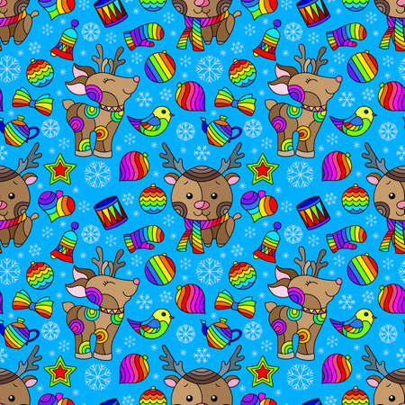 Seamless pattern on the theme of New year and Christmas, bright Christmas tree toys, deers and snowflakes on a blue background 矢量图像