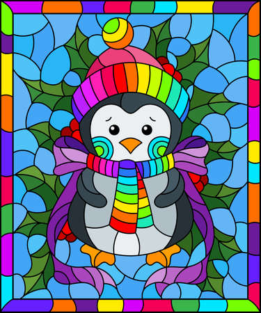 Illustration in stained glass style on the theme of the winter holidays of Christmas and New year, a toy penguin on the background of Holly branches 矢量图像