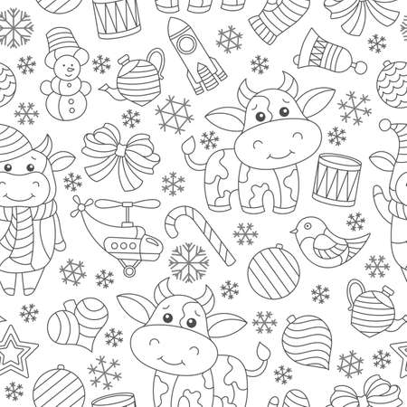 Seamless pattern on the theme of New year and Christmas, contour Christmas tree toys, bulls and snowflakes on a white background