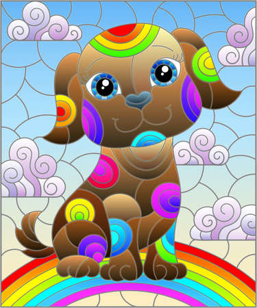 Illustration in stained glass style with abstract cute, brown dog on a cloudy sky background with rainbow