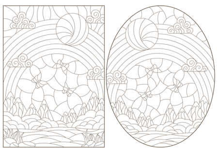 Set of contour illustrations in stained glass style with landscapes, summer views with mountains, meadows and sky, dark outlines on a white background