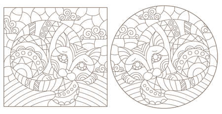 Set of outline illustrations in the style of stained glass with abstract cats, dark outlines on white background 矢量图像