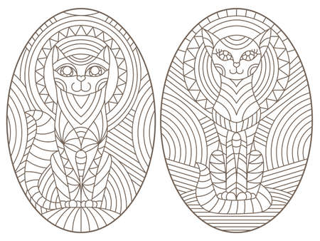 Set of outline illustrations in the style of stained glass with abstract cats, dark outlines on white background, oval images 免版税图像 - 159588203
