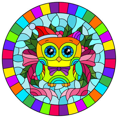 Illustration in stained glass style on the theme of the winter holidays of Christmas and New year, a toy owl on the background of Holly branches, round image in bright frame 矢量图像
