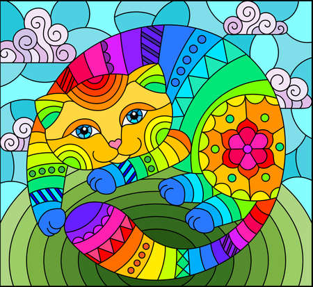Illustration in stained glass style with abstract cute rainbow cat on a blue background, square image