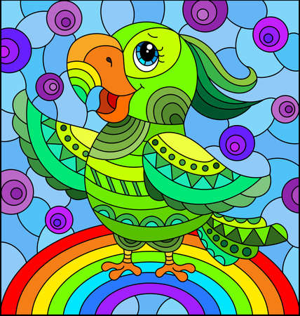 Illustration in stained glass style with abstract cute bright parakeet on a sky background with rainbow 免版税图像 - 159588205