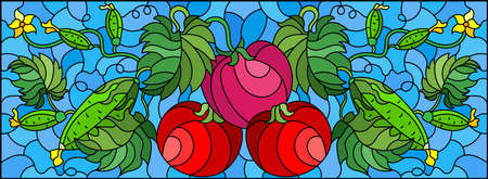 Illustration in stained glass style with vegetable composition, ripe tomatoes, cucumbers and leaves on a blue background, horizontal orientation
