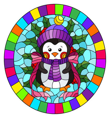 Illustration in stained glass style on the theme of the winter holidays of Christmas and New year, a toy penguin on the background of Holly branches, oval image in bright in frame
