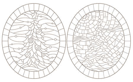 Set of contour illustrations of stained glass Windows with Christmas trees, dark contours on a white background 矢量图像
