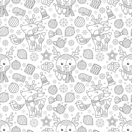 Seamless pattern on the theme of New year and Christmas, contour Christmas tree toys, deers and snowflakes, dark outlines on a white background