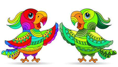 Set of stained glass elements with funny cartoon parakeets, isolated images on white background