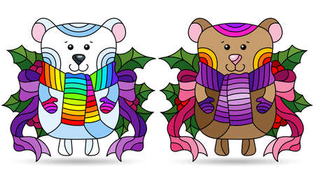 Set of illustrations with stained glass elements, toy bear and a polar bear with Holly branches, isolated on a white background