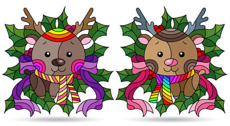 Set of illustrations with stained glass elements, toy deers and Holly branches, isolated on a white background