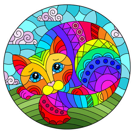 Illustration in stained glass style with abstract cute rainbow cat on a blue background, oval image